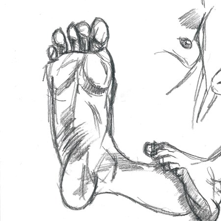 Elena, feet mainly, drawing by William Eaton, 17 July 2020