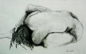 "Drawing, ""Fetal Position"" by Kansas City artist Sarah Biondo; Fine Art America"