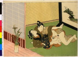 Shunga, Colour woodblock print, Lovers with iris in a vase, attributed to Isoda Koryusai (磯田湖龍齋),