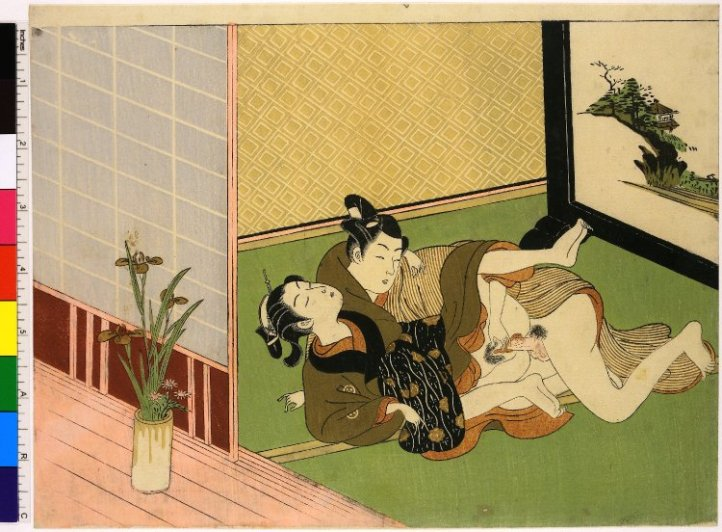 Shunga, Colour woodblock print, Lovers with iris in a vase, attributed to Isoda Koryusai (磯田湖龍齋), 1772-1773, collection of the British Museum