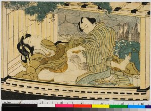 Shunga print, Lovers and boat, school or style of: Katsushika Hokusai (葛飾北斎) or of Utagawa, early 19th century, collection of British Museum