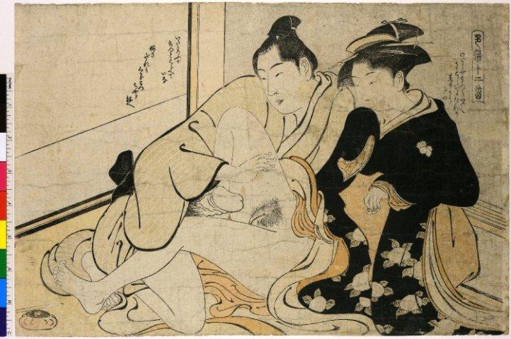 Shikido juniban 色道十二番 - Shunga No. 1 - Young lovers - woodblock-printed, print artist Torii Kiyonaga (鳥居清長), Tenmei Era, 1784, Shunga collection of the British Museum