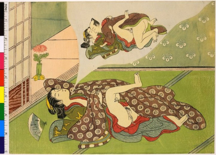Woman dreaming of making love - woodblock-printed, attributed to Ippitsusai Buncho (一筆斉文調), circa 1770, Shunga collection of the British Museumction of the British Museum