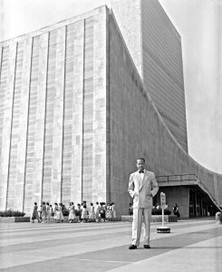Dag Hammarskjold in front of the United Nations Headquarters in New York City