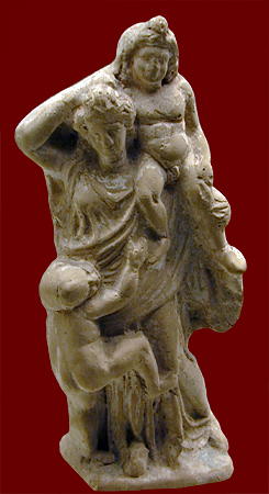 Greek sculpture Tarento, third century BCE figurine mother with two children, Allard Pierson Museum, Barbara McManus
