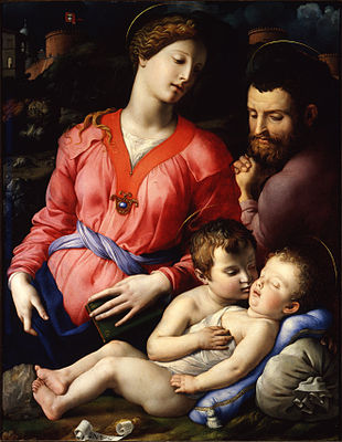 "Agnolo di Cosimo, named Bronzino, Sacra Famiglia, (""The Holy Family with the young St John""), Panciatichi Madonna, c. 1540, Florence, Galleria degli Uffizi."