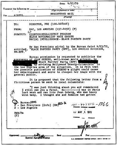FBI vs Jean Seberg; copy of FBI inter-office memo