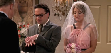 Leonard (Johnny Galecki) and Penny (Kaley Cuoco-Sweeting) getting married in the The Big Bang Theory