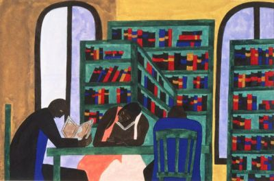 The Libraries Are Appreciated (1943) by Jacob Lawrence. Courtesy of the Philadelphia Museum of Art, © 2014 The Jacob and Gwendolyn Lawrence Foundation, Seattle/Artists Rights Society (ARS), New York