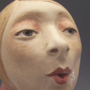 Woman whistling, ceramic sculpture, MaidOfClay website