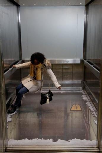 bottomless elevator, 3D illusion, London