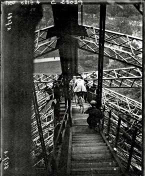 Cycling down the Eiffel Tower, 1923, from la Bibliothèque nationale - 2