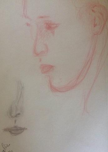 Agathe (en plus âgée, Normandie 2016) - cropped more, drawing by William Eaton, pencil
