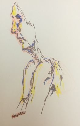 Colorful Mazi, pen drawing by William Eaton, Sep 2016