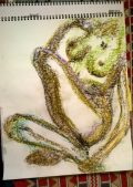 Long-limbed - hand on foot, pastel Feb 2017, by William Eaton