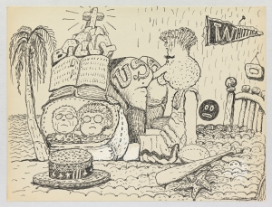 philip-guston-untitled-1971-ink-on-paper-nixon-nose-in-usa-ass, Private Collection. © The Estate of Philip Guston, Courtesy Hauser & Wirth [GUSTO77446]