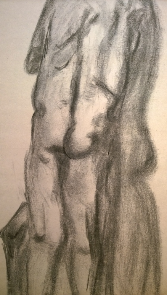 Two models, close, Jan 2017, drawing by William Eaton, charcoal on newsprint