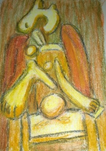 After Picasso, Femme au fauteuil rouge, 1932, done with crayons by William Eaton, Feb 2017
