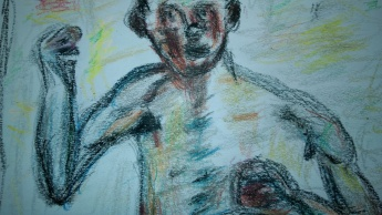 Crayon drawing from Bonnard self-portrait (Le boxeur), by William Eaton, January 2017