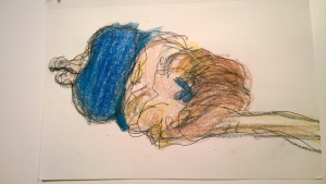 Lyon Plage, blue suit, drawing by William Eaton, pen and crayon, July 2017