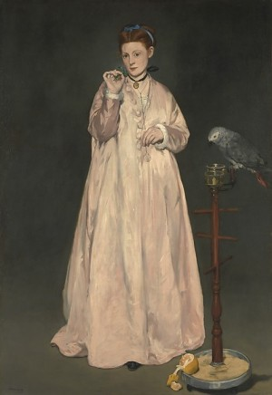Edouard Manet, La femme au perroquet (Woman with a Parrot), 1866, in the collection of the MET