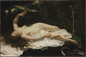 Gustave Courbet, La femme au perroquet (Woman with a Parrot), 1866, in MET collection