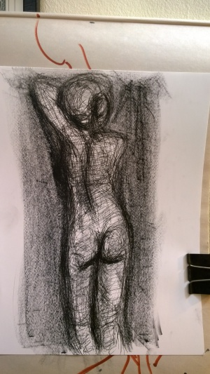 Eva, Art Students League, May 2017, pen and litho crayon, by William Eaton (with background)