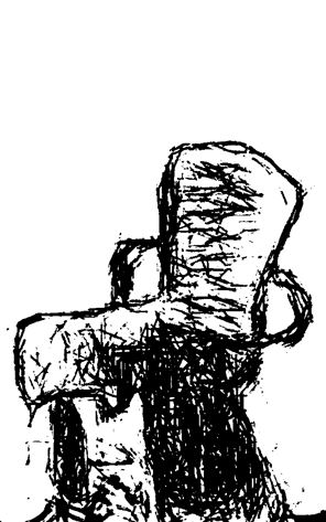 Chair with scarf, Morgan Library, New York, from drawing by William Eaton, 2017