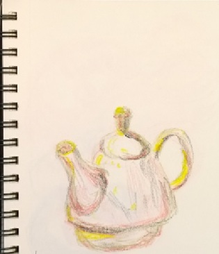 Morgan Library teapot (without text), crayon drawing by William Eaton, March 2017
