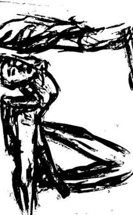 Snip from (rotated) drawing of Maria (fish pose), 14 June 2017, ASL, modern dance night, based on charcoal drawing by William Eaton