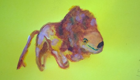 Stuffed lion on colored paper, drawing by William Eaton, Oct 2017