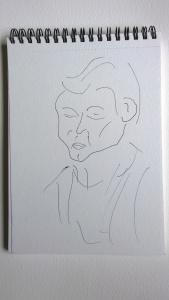 Belle of La Bottega, pen drawing by William Eaton, Aug 2017