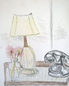 Block Island hotel room, May 2017, pen and pencil, drawing by William Eaton
