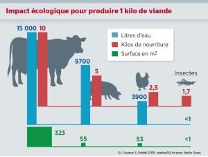 Impact écologique pour produire 1 kilo de viande (des vaches, des cochons, des poules et des insectes)