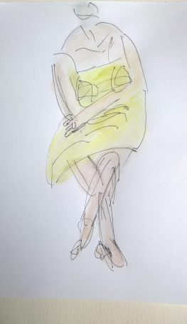 Lyon Musée, woman yellow top, pen, colored pencils and water, drawing by William Eaton, Aug 2017