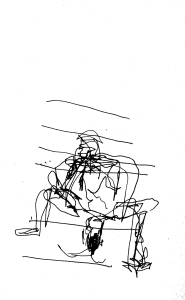 Man on steps, pen drawing in the dark, by William Eaton, June 2017