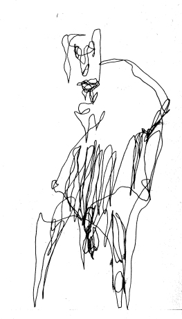 Man with fence-like stomach, pen drawing in the dark, by William Eaton