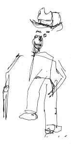 Man with hat and cane, pen drawing in the dark, by William Eaton, June 2017
