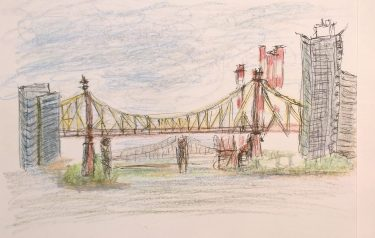 Two bridges, East River, seen from UN North Lawn, pen and colored pencils, William Eaton, 2017