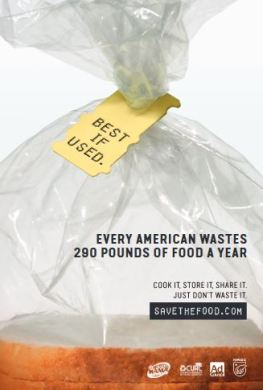 Every American Wastes 290 pounds of food a year, Save The Food, Recycle Mania poster