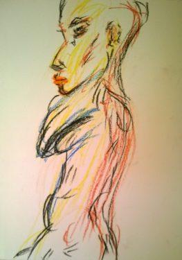 Lorelie in color, 23 Aug 2017, pastel drawing by William Warner