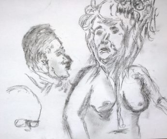 What is this? Naked woman, men's heads, drawing by William Eaton, 2017