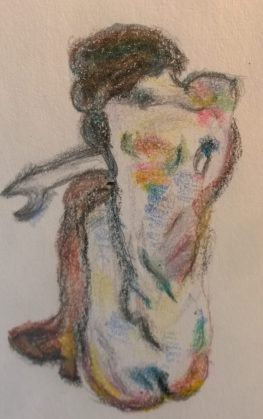 After Schiele, Crouching Nude in Shoes and Black Stockings, Back View, from MET, crayon drawing by William Eaton, April 2017
