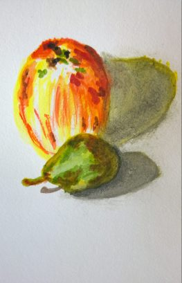 Apple and Pear watercolor, by William Eaton, Sep 2017