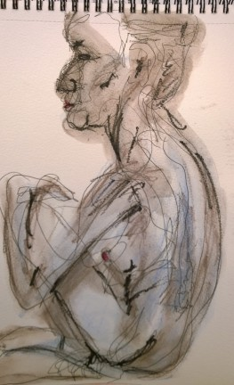 Erica seated, pen and watercolor drawing by William Eaton, Sep 2017