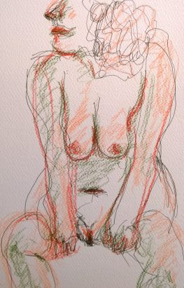 Female nude, full frontal, SoI, Sep 2017, colored-pencil drawing by William Eaton