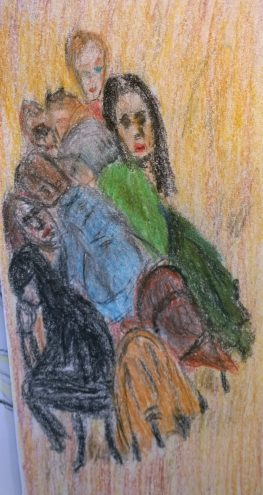 Grouping at Maison Kayser, Union Square, crayon drawing by William Eaton, 2017