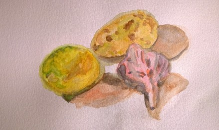 Lemon, potato, garlic, colored pencil and water, by William Eaton, Sep 2017