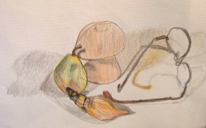 Still Life with Glasses, drawing by William Eaton, Sep 2017
