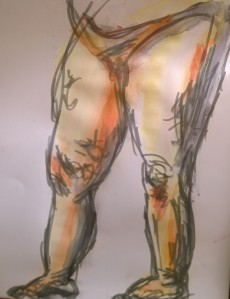 Thighs, with pens, wash, by William Eaton, Sep 2017